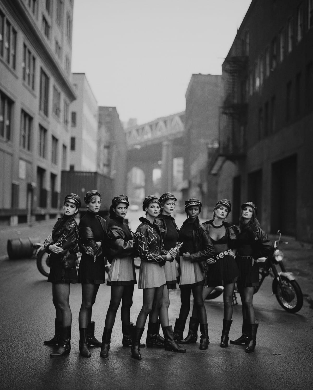 Cindy Crawford, Claudia Schiffer, Helena Christensen, Karen Mulder, Linda Evangelista, Naomi Campbell, Stephanie Seymour, Tatjana Patitz, Brooklyn, New York, États-Unis, 1991