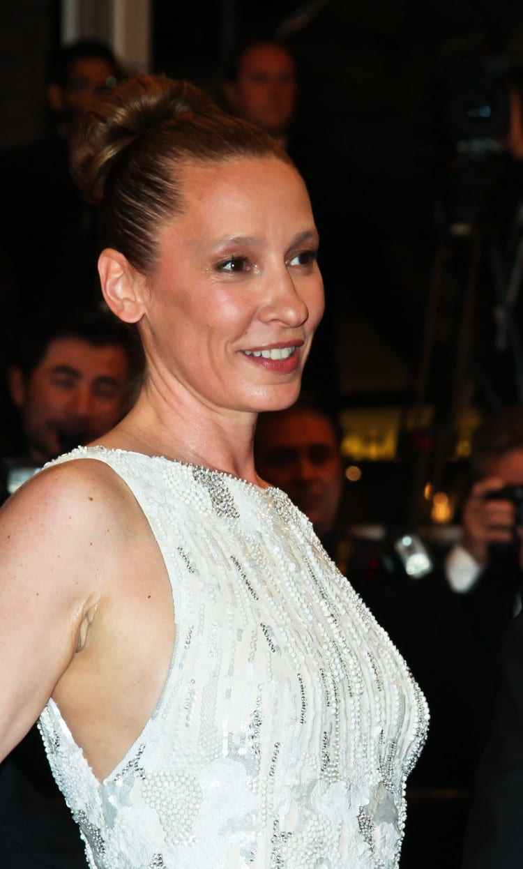 Prix d'interprétation féminine : Emmanuelle Bercot sur les marches pour le film Mon Roi. On choisit de faire un zoom sur son maquillage des yeux, par Guerlain.