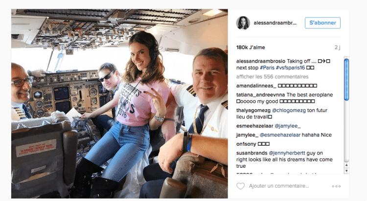 @AlessandraAmbrosio (dans le cabine de pilotage avant le décollage)