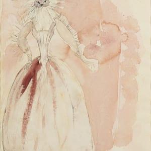 M225-Femme-au-Masque-de-chat-Mistinguette-rose-aquarelle-et-trait-de-crayon-40-x-30-cm-